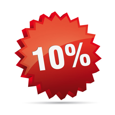 reduced: 10 ten percent reduced Discount advertising action button badge bestseller percent free shop sale Illustration