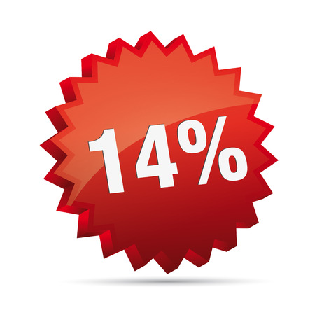 clacker: 14 fourteen percent reduced Discount advertising action button badge bestseller free shop sale
