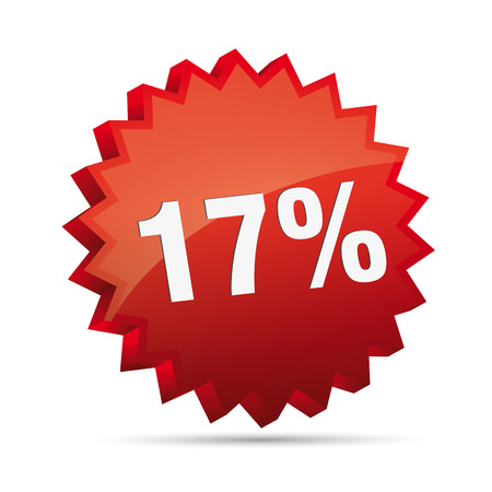 clacker: 17 seventeen percent reduced Discount advertising action button badge bestseller shop sale Illustration
