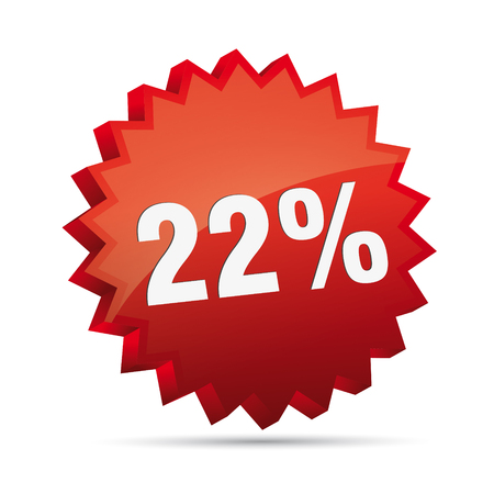 clacker: 22 twenty-second percent reduced Discount advertising action button badge bestseller free sale