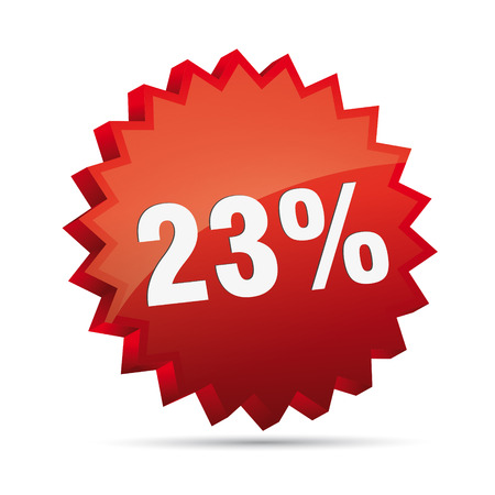 23 Twenty-three percent reduced 3D Discount advertising action button badge bestseller shop sale Vector