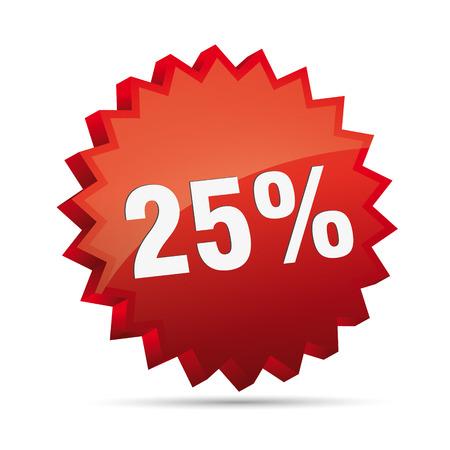 inexpensive: 25 twenty-five percent reduction 3D Discount advertising action button badge bestseller shop sale