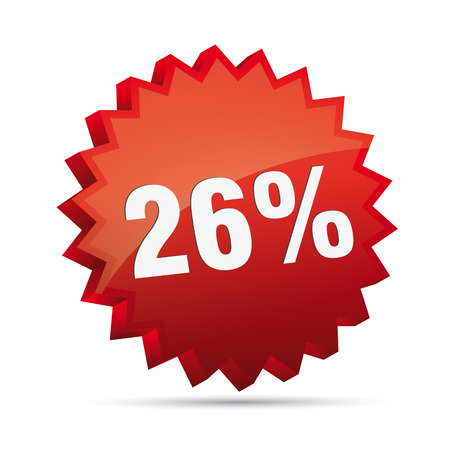 clacker: 26 twenty-sixth percent reduced Discount advertising action button badge bestseller free