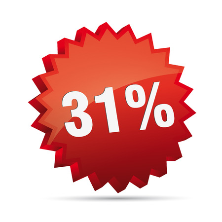 31: 31 thirty-first percent reduced 3D Discount advertising action button badge bestseller shop sale