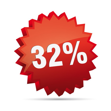 clacker: 32 thirty-second percent reduced Discount advertising action button badge bestseller free shop sale