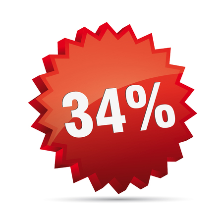 clacker: 34 thirty-four percent reduced Discount advertising action button badge bestseller shop sale