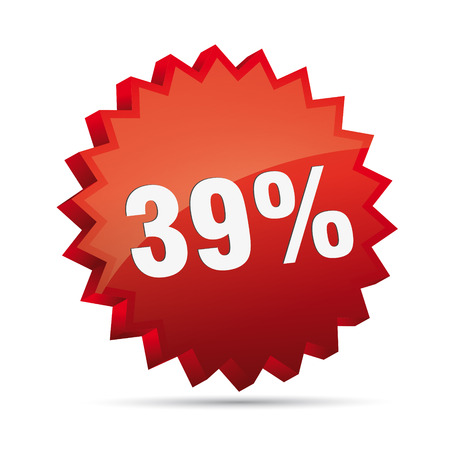 clacker: 39 thirty-nine percent reduced Discount advertising action button badge bestseller shop sale
