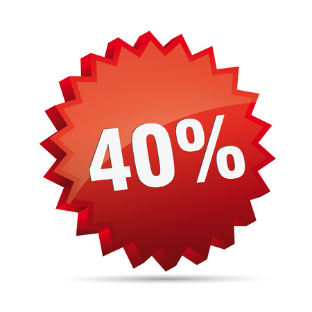 clacker: 40 forty percent reduced 3D Discount advertising action button badge bestseller shop sale Illustration