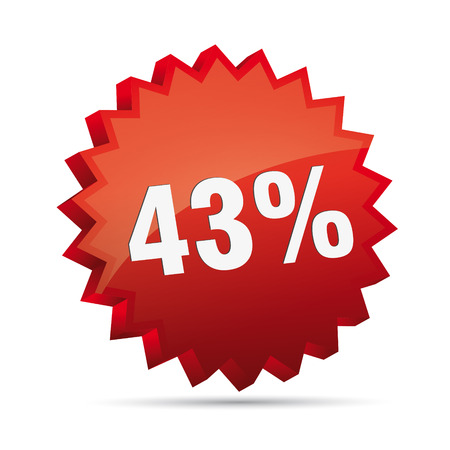reduced: 43 forty-third percent reduced 3D Discount advertising action button badge bestseller shop sale