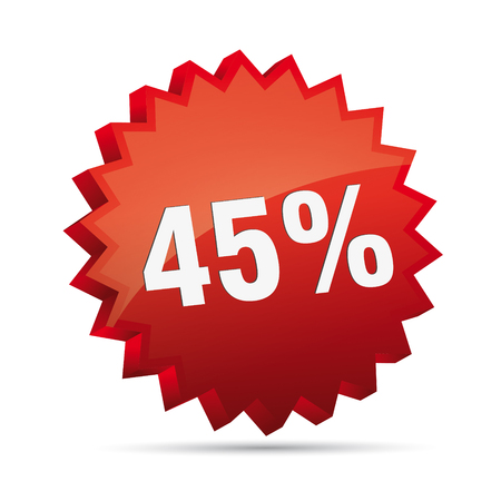 clacker: 45 forty-fifth percent reduced 3D Discount advertising action button badge bestseller shop sale