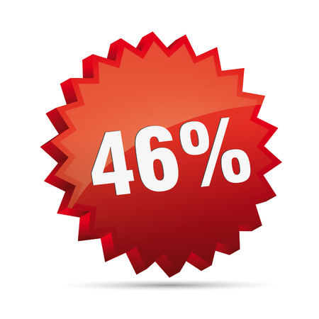 clacker: 46 forty-six percent reduced Discount advertising action button badge bestseller shop sale
