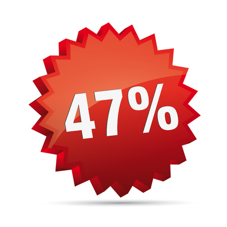 47 forty-seven percent reduced 3D Discount advertising action button badge bestseller shop sale Vector