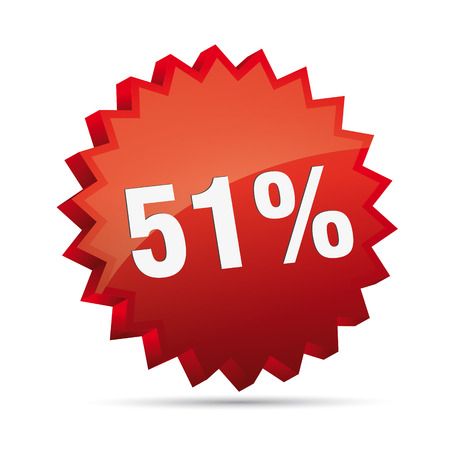 clacker: 51 fifty-first percent reduced 3D Discount advertising action button badge bestseller shop sale