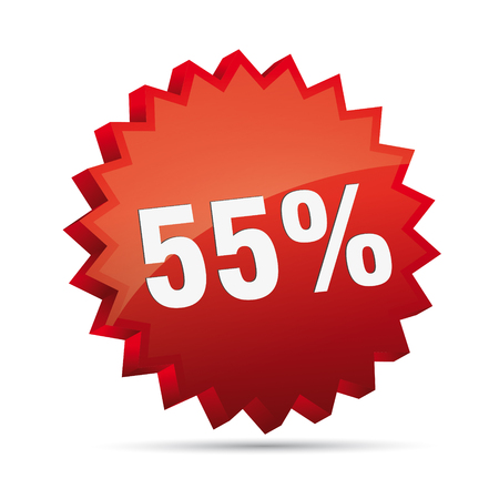 clacker: 55 fifty-five percent reduced Discount advertising action button badge bestseller shop sale
