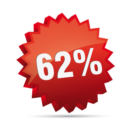 62 sixty-two percent reduced Discount advertising action button badge bestseller shop sale Vector