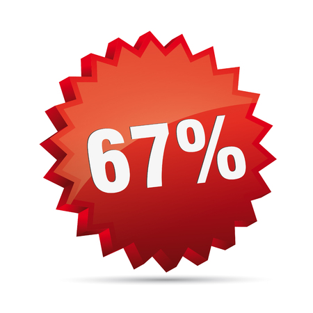 cheaper: 67 sixty-seven percent reduced 3D Discount advertising action button badge bestseller shop sale Illustration