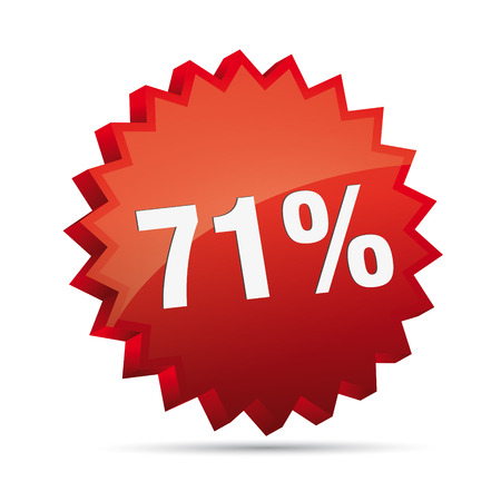 clacker: 71 seventy-first percent reduced 3D Discount advertising action button badge bestseller shop sale