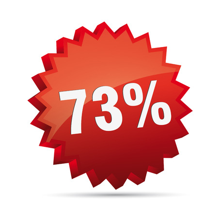 clacker: 73 seventy-three percent reduced Discount advertising action button badge bestseller shop sale