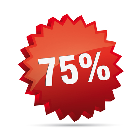 75 seventy-five percent reduced Discount advertising action button badge bestseller shop sale Vector