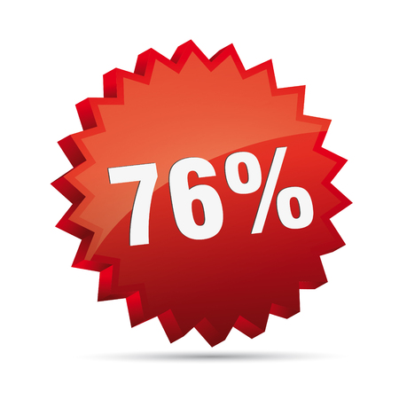 76 seventy-six percent reduced Discount advertising action button badge bestseller shop sale