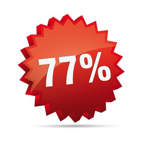 77 seventy-seven percent reduced Discount advertising action button badge bestseller shop sale Vector