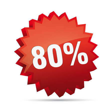 80 eighty percent reduced Discount advertising action button badge free shop sale Vector