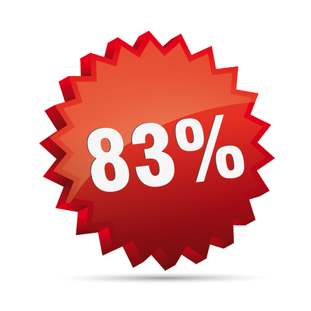 clacker: 83 Eighty-three percent reduced Discount advertising action button badge bestseller shop sale Illustration