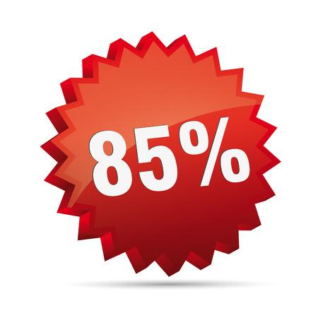 ochenta: 85 ochenta y cinco por ciento menor 3D Descuento publicitarios acci�n del bot�n insignia bestseller venta tienda