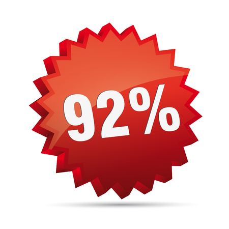 clacker: 92 ninety-two percent reduced Discount advertising action button badge bestseller shop sale Illustration