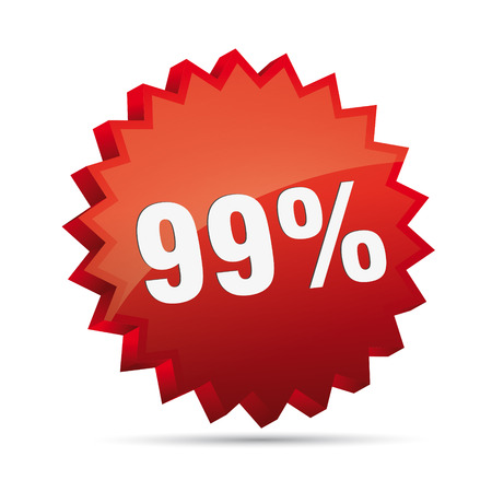 clacker: 99 ninety-nine percent reduced Discount advertising action button badge bestseller shop sale