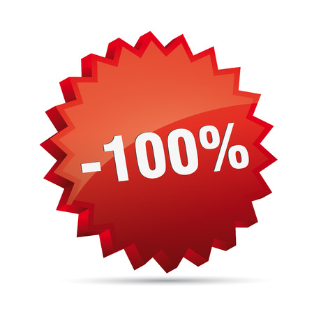 minus 100 hundred percent reduced 3D Discount advertising action button badge bestseller sale Vector