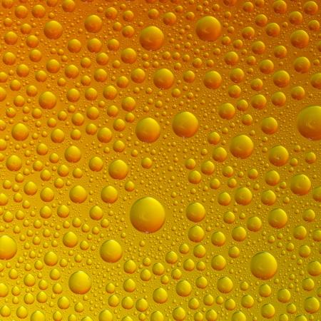 self sealing: Waterdrops spectral gradient orange yellow gold sun colors rainbow colorful beading lotuseffekt dew sealing Stock Photo