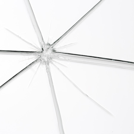 trampled: glassbreak glass crack damage splinter broken shards theft burglar accident Stock Photo