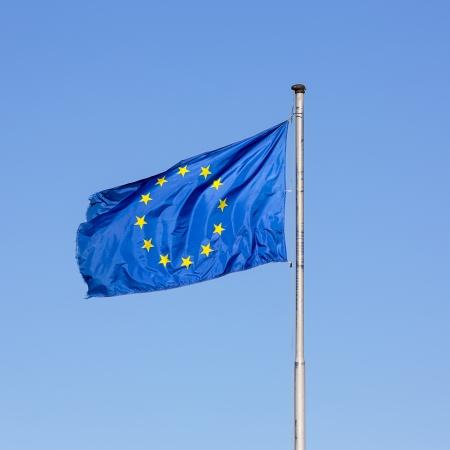 internationally: European flag star european parliament Germany globalization policy eu greece sky blue Stock Photo