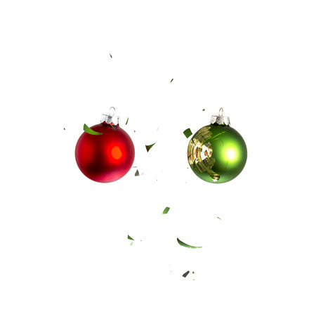 new year eve beads: christmas ball explosion shattered christmas tree green red ornament decoration impact  Stock Photo