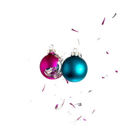 shards: christmas ball explosion shattered christmas tree blue green pink ornament decoration impact