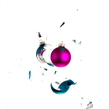 new year eve beads: christmas ball explosion shattered christmas tree blue green pink ornament decoration impact