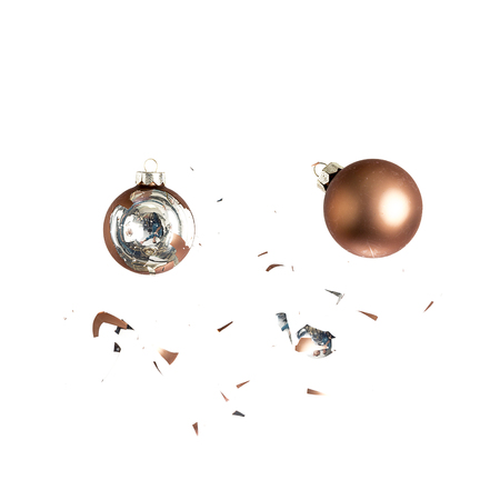 christmas ball christmas tree ornament decoration bronze brown impact explosion shattered photo