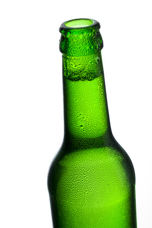 bottleneck: Beer bottle bottleneck bubbles condensation dripping green chilly dew brewery disco summer party