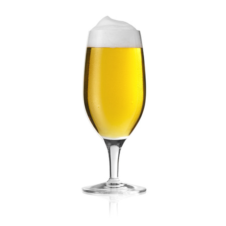 gastro: pils beer glass mushroom dew drop beer froth foam crown gold alcohol brewery Gastro isolated
