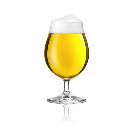 foam party: beer glass beer Altbier tulip beer froth foam crown gold pils alcohol brewery gastronomy isolated Stock Photo