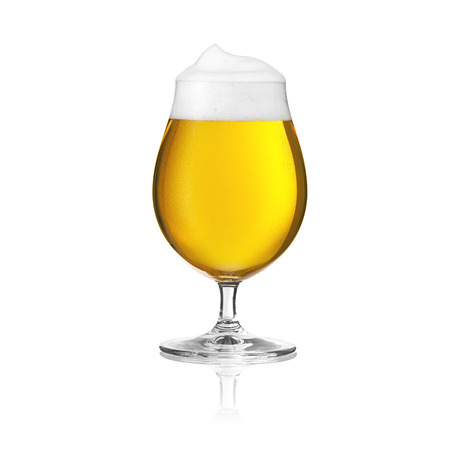 beer tulip: beer glass beer tulip beer froth dew drops sparkling crown gold Altbier brewery alcohol pils isolat Stock Photo
