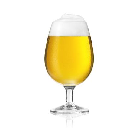 pilsner beer: pils beer tulip beer glass beer froth dew drop mushroom foam crown Altbier gold alcohol brewery Stock Photo