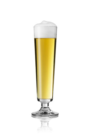 gastro: bierglas altbiert dortmund bar beer froth foam crown, gold pils alcohol brewery Gastro isolated Stock Photo