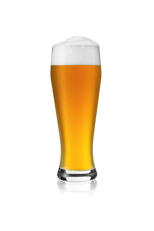 wheat beer: Wheat beer glass beer foam white beer foam crown dew condensation drops gold isolated alcohol brewer Stock Photo
