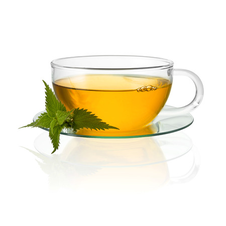 medicinal plant: tea glass cup drink nettle medicinal plant isolated hot drink cold-hot free agency Stock Photo