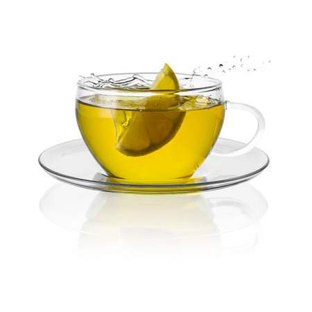 teacup: teacup teacup isolated drink herbal tea hot drink cold-hot cutout aroma steam Stock Photo