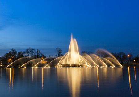 europaplatz aachen fountain roundabout Europe high-rise fountains water blue hour night Stock Photo - 27635347