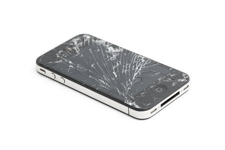 ventana rota: Tel�fono m�vil seguro de da�os pantalla Iphone 4 4s rotura de vidrio de reparaci�n de la pantalla roto Editorial