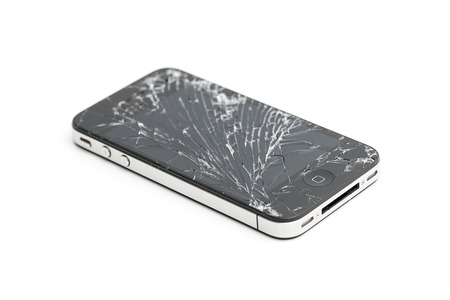 roto: Tel�fono m�vil seguro de da�os pantalla Iphone 4 4s rotura de vidrio de reparaci�n de la pantalla roto Editorial